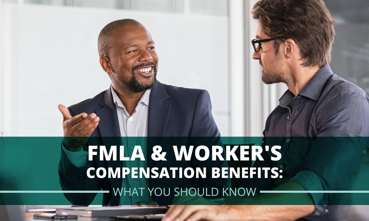 two male corporate employees talking about fmla and workers comp benefits